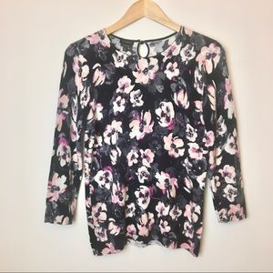Talbots 100% Cashmere Floral Sweater